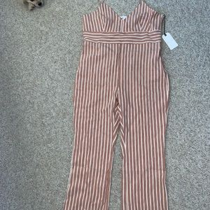 Leith Jumpsuit XL pinstripe v neck NWT